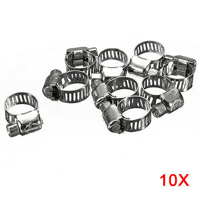 10pcs Screw Band Worm Drive Hose Clamps 304 Stainless Steel Pipe Clips 6-12mm