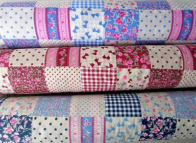 PolyCotton fabric Designer Patch Work Floral Design Polka Dots Spot Bows Gingham
