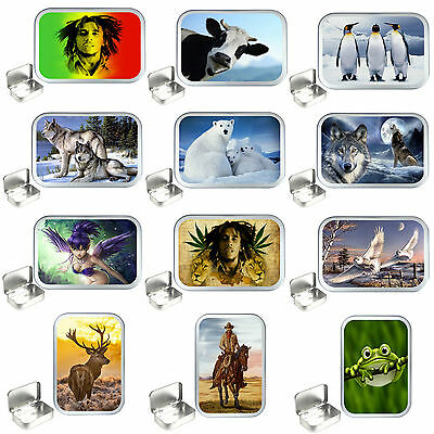 Silver Hinged 1oz & 2oz Silver Tobacco Tins,Stash Can,Storage Tin,Wolf,Cow,Frog