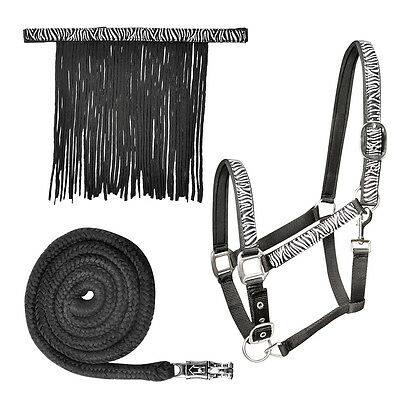 Waldhausen Zebra Halter Set With Headcollar Fly Fringe And Panic Hook Leadrope