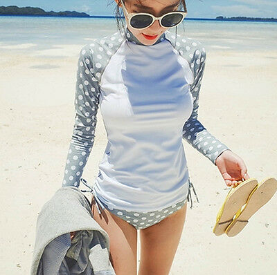 Women Long Sleeve Sun Shirts UV Surfing Swim Top Rash Guards + Swim Brief Trunks