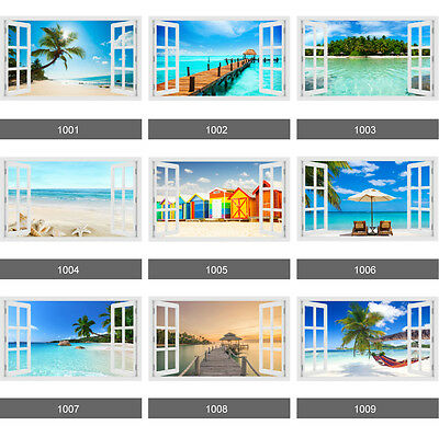 3D Window Tropical Palm Tree Beach View Wall Stickers, Wall Mural, Wall Decals