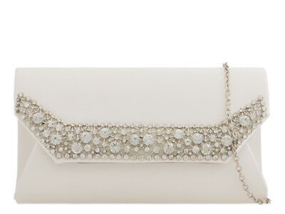 Ivory Satin Diamante Evening Clutch Handbag Party Prom Wedding Purse 1520