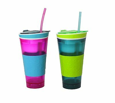 Snackeez 2-In-1 Snack & Drink Cup Light-Up LED 2-Pack (Pink/Blue & Blue/Green)