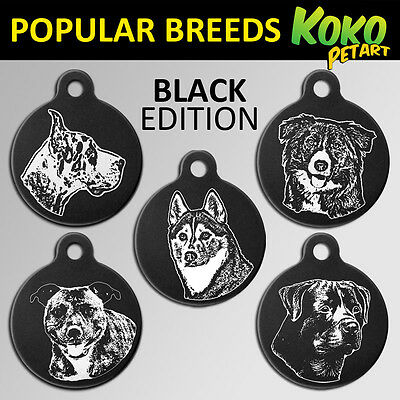 Limited Black Edition Dog Pet ID Tag Large 31mm Round Custom Engraved &Free Ring