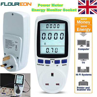 NEW Plug-in Energy Monitor Power Meter Electricity Watt Volt Monitoring Socket