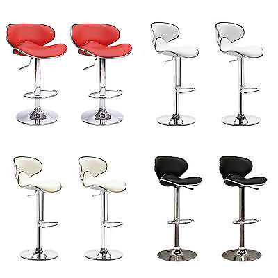 SET OF 2 - PAIR of FAUX LEATHER KITCHEN BAR STOOL PUB BARSTOOLS SWIVEL PU T301