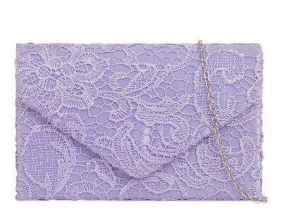 New Ladies Lace Floral Satin Evening Handbags Party Prom Wedding 13 COLORS 09222