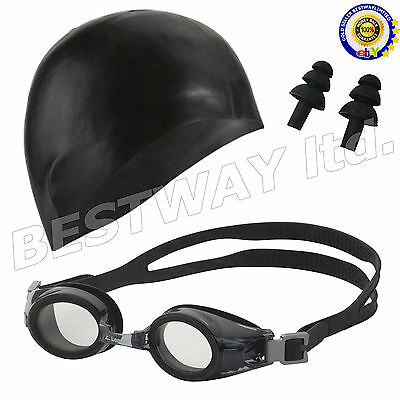 Adjustable Sports Swimming Adult Goggles With Cap Anti Fog UV Lens