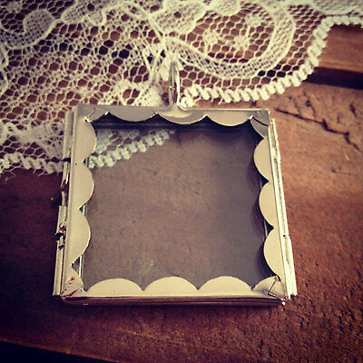 SILVER Scalloped Square Double Sided Glass Frame Locket Pendant Charm Vintage