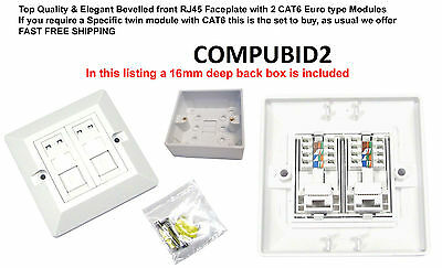 CAT6 RJ45 Double Ethernet Network 2 Port Data Wall Socket FacePlate+19MMBack Box