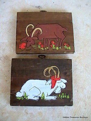 Set of 2 Goat Ram Hand Painted Wooden Art Wall Hanging Signed Olive