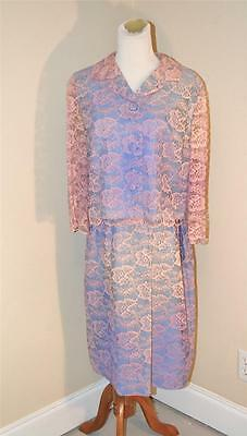 Vintage Pink & Blue Lace Jacket and Skirt Suit 60's Jackie O Hand Made