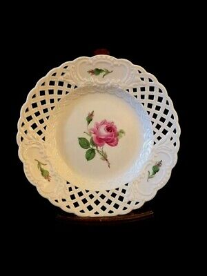 Antique Meissen 19th century Pink Rose Reticulated Plate