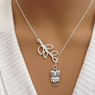 Women's Branch Leaves Owl Pendant Antique Silver w/ Chain Necklace - USA Seller!