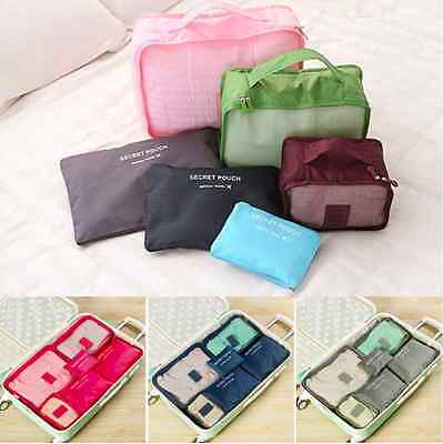 6PCS Travel Luggage Suitcase Organiser Packing Cubes Set Bags Backpack Pouches