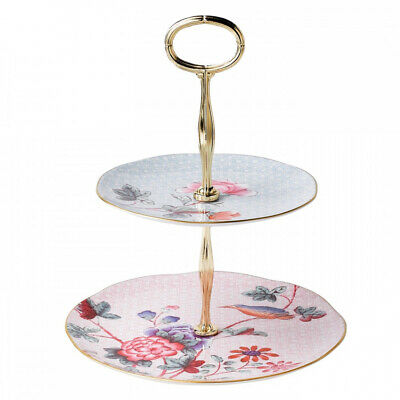 NEW Wedgewood floral patterned bone china two-tiered cake stand