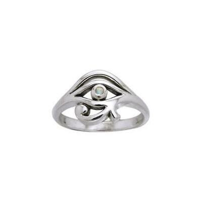 Eye of Horus .925 Sterling Silver Ring Choice of Gemstone by Peter Stone