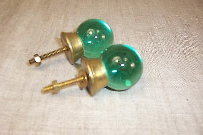 VTG brass glass knobs green coke bottle marble round knob pull cabinet hardware