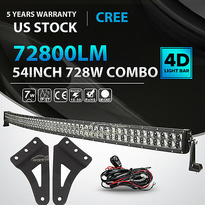 """54inch 520W Curved LED Light Bar + Mount Bracket Fit for GMC/Chevy Silverado 52"""""""