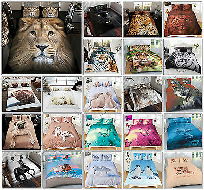 3D Duvet Cover Set Animal Print Quilt Cover With Pillow Cases Single Double King