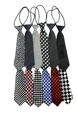 Boys Satin Necktie Elastic Kids Party Wedding School Neck Tie - Checks & Dots