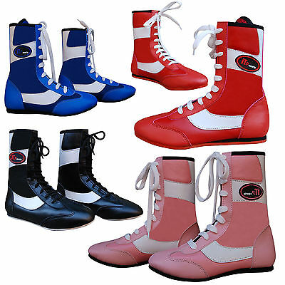 ZstarAX Leather Boxing Boots / Shoes Long Anklet Training ADULTS & JUNIORS MMA