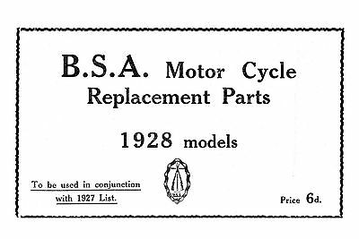 1928 BSA All Models parts book