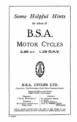 1929 BSA 3.49hp L29 instruction book