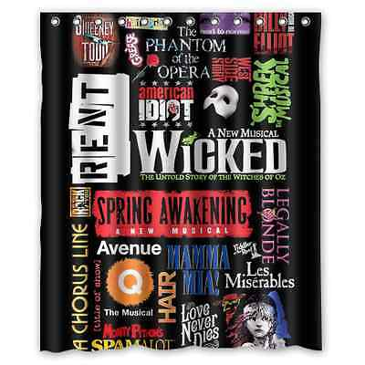 new customize design custom broadway musical collage shower curtain 60x72 inch - Musical Shower Curtains