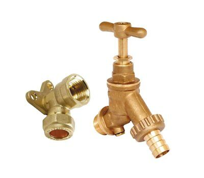 "15mm 1/2"" Garden Outside Outdoor Tap Hose Connector Kit with Double Check Valve"
