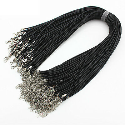 10/100pcs Black Leather Cord Necklace With Lobster Clasp Charms Jewelry DIY 2mm