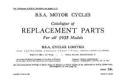 1935 BSA All Models parts book