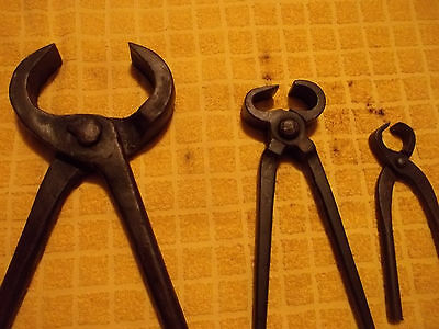 "3 Old Iron Blacksmith Hoof Nippers / Clippers / Cutters, 6, 12 , & 17"", Free S/H"