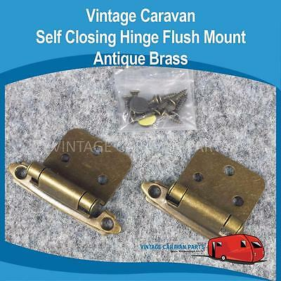 Caravan Self Closing Hinge Flush Mount Antique Brass Viscount 824180 H0132