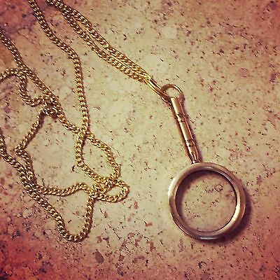 Vintage Style Nautical Magnifying Glass Necklace Shiny Gold Brass