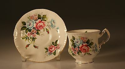 Paragon Flower Festival Pink and Blue Roses Cup and Saucer, Made In England