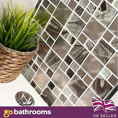 Glass Saturn Mosaic Modular Silver Tile (Jupiter) Bathroom Kitchen 30x30cm