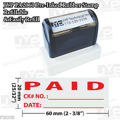 "New JYP PA2060 Pre-Inked Rubber Stamp w. ""Paid w. ck# No. and date"""