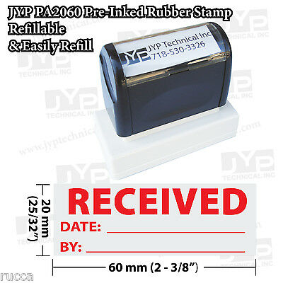"New JYP PA2060 Pre-Inked Rubber Stamp with ""Received"" with date and by"