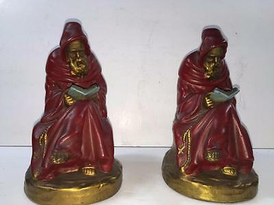 PAIR OF VINTAGE ARMOR BRONZE FRANCISCAN MONK  BOOKENDS (*576c)