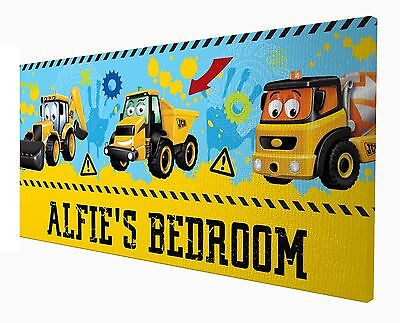 My 1st First JCB - Personalised Personalized Door Sign Plaque 10x20cm