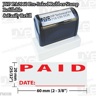 New JYP PA2060 Pre-Inked Rubber Stamp Text  Paid w. Date