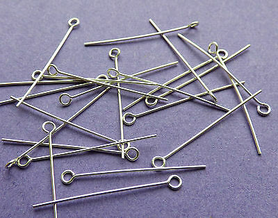 25mm length 24 gauge 0.60mm thickness 925 Sterling Silver Eye Pins 24pcs
