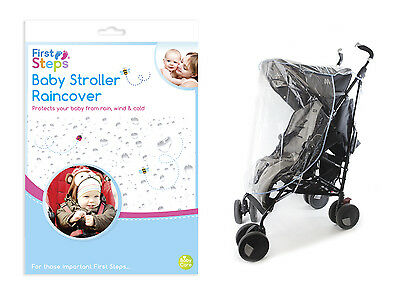 Universal Baby Stroller Protective Rain Cover With Blue Trim Buggy Pushchair