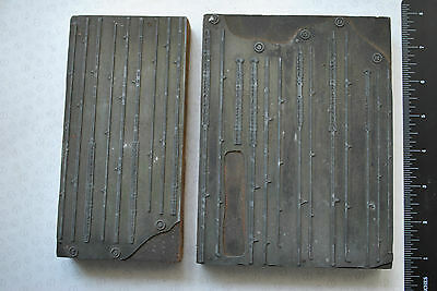 2X Rare Early Vintage Catalogue Advertising Printing Blocks Showing Rods