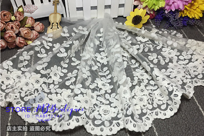 1 yard, 35cm Delicate white embroidered flower tulle lace trim Sewing DIY F129