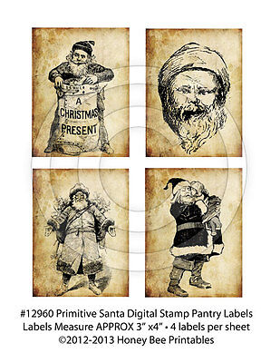Primitive Grungy Style Christmas Santa Claus Pantry Labels 12960 for cans & jars