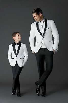 White Black Men Suit Groom Wedding Formal Tuxedos Suits Jacket Pants Custom Made
