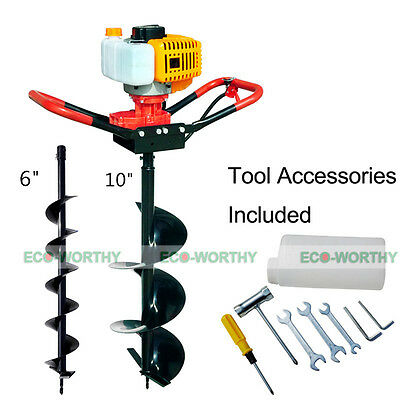 """2.2 HP Gas Powered Post Hole Digger W/ 4/8/10"""" Auger Drill Bit 49CC Power Engine"""